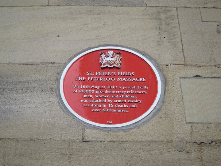 A plaque in Manchester commemorating the Peterloo massacre