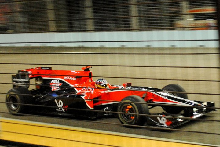 Timo Glock in the Virgin Racing car at the Singapore GP - those are red hot brakes!