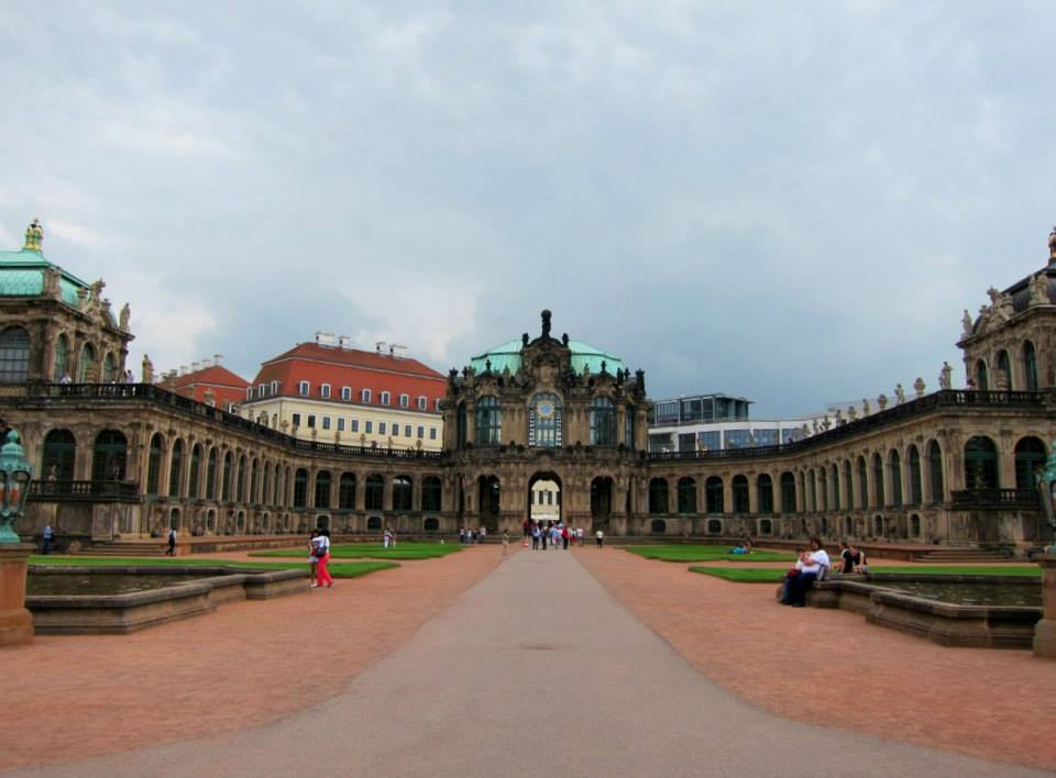 The Zwinger palace gardens. Each side is quite different in appearance.