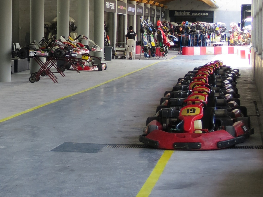 Birel karts waiting for us to complete our first run