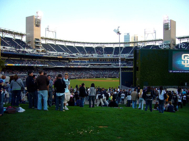 People watching the baseball game at Petco Park