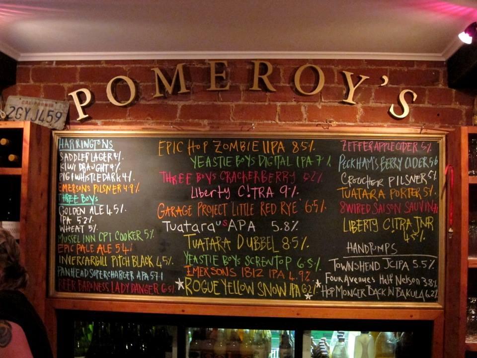 Pomeroy's menu