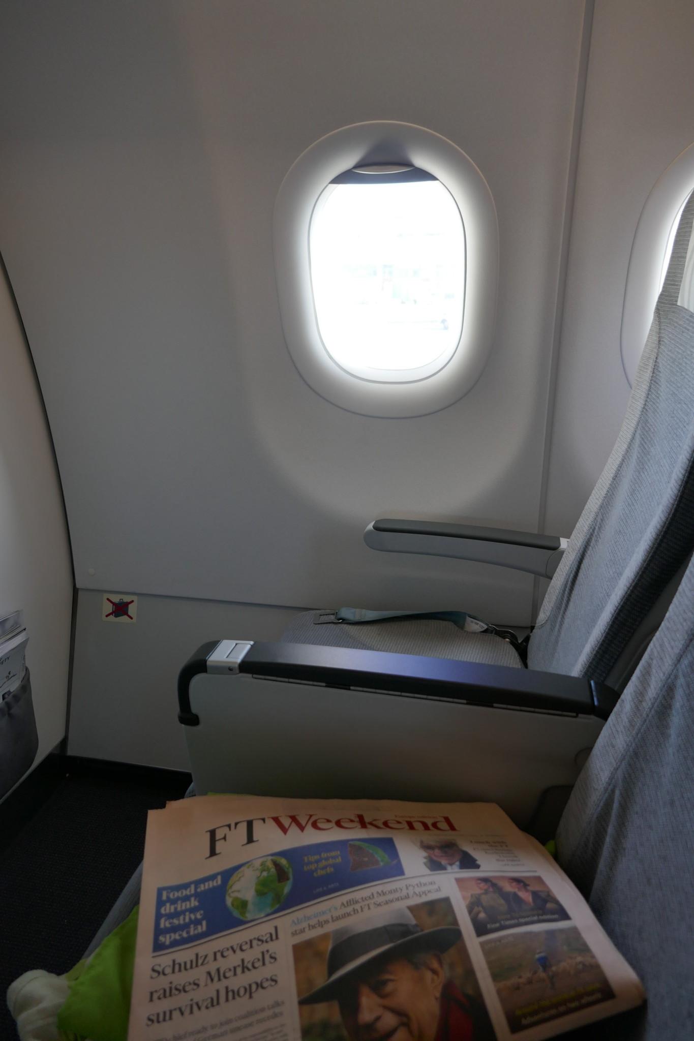 Finnair A320 Business Class bulkhead seat