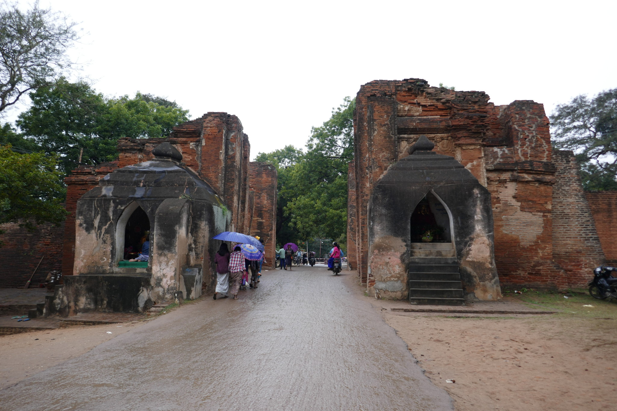Riding through Tharabar Gate in Bagan