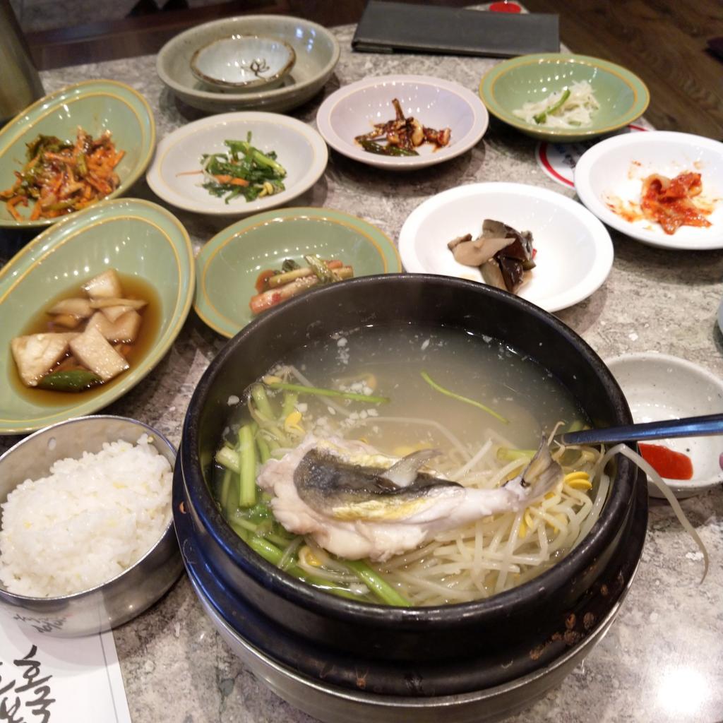 Korean puffer fish in soup
