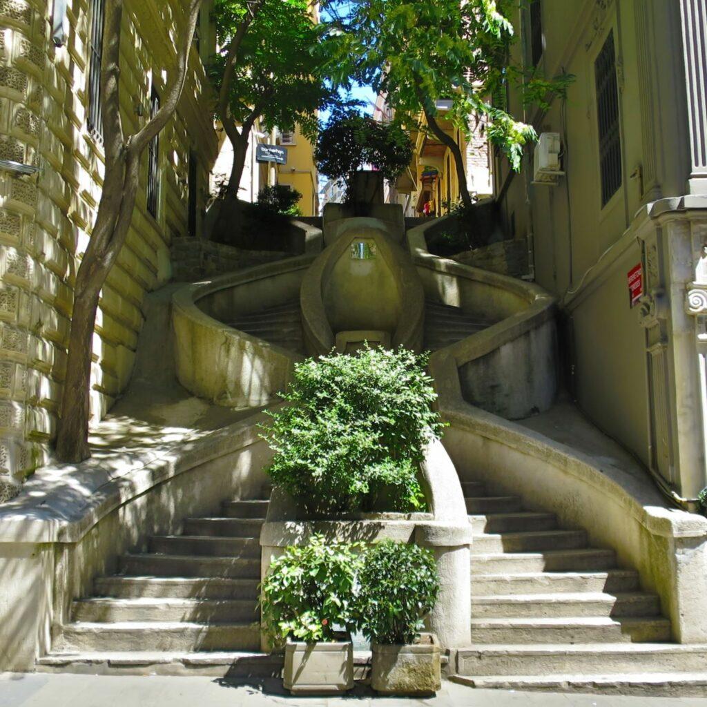 Spiral staircase between buildings